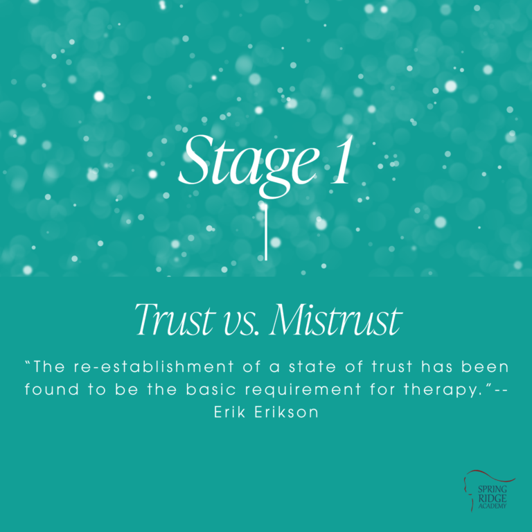 """Stage 1: Trust vs. Mistrust. """"The re-establishment of a state of trust has been found to be the basic requirement for therapy.""""-- Erik Erikson"""