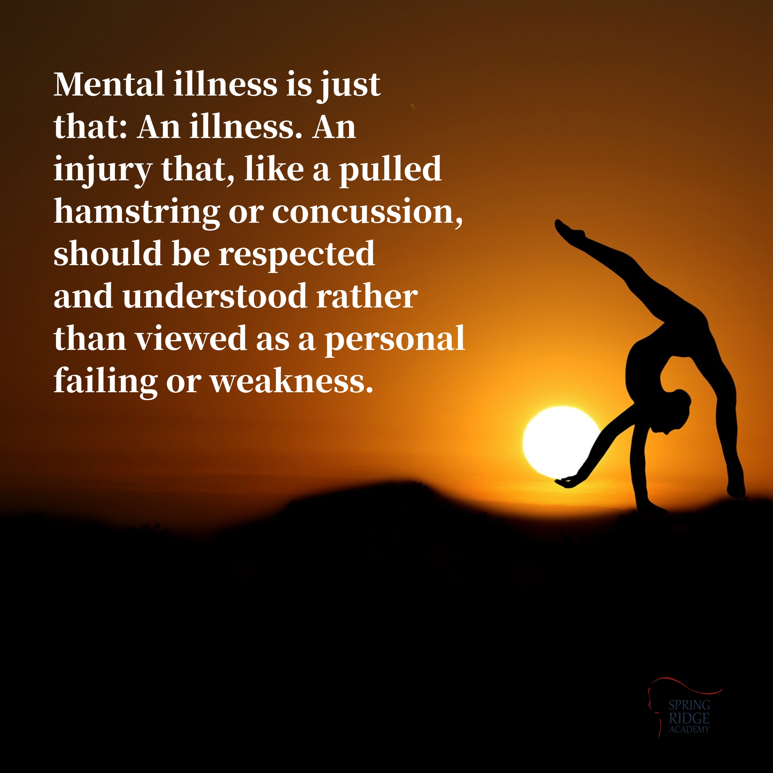 Mental illness is just that: An illness. An injury that, like a pulled hamstring or concussion, should be respected and understood rather than viewed as a personal failing or weakness.