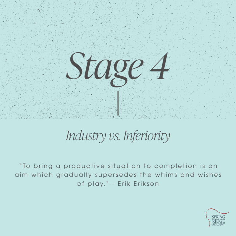 """Stage 4: Industry vs. Inferiority """"To bring a productive situation to completion is an aim which gradually supersedes the whims and wishes of play.""""-- Erik Erikson"""